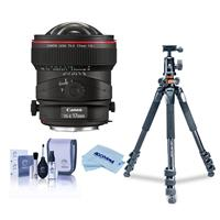 Image of Canon TS-E 17mm f/4L Tilt-Shift Manual Focusing Lens for EOS - U.S.A. Warranty - Bundle With Vanguard Alta Pro 264TBH Tripod and TBH-100 Head with Arca-Swiss QR Plate, Cleaning Kit, Microfiber Cloth