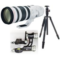 Image of Canon EF 200-400mm f/4L IS USM with Built-in Extender 1.4x Lens USA Warranty - Bundle With FotoPro X-Go Max Carbon Fiber Tripod with Built-In Monopod FPH-62Q Ball Head, Fotopro E-6H Gimbal Head Black