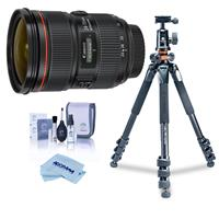Image of Canon EF 24-70mm f/2.8L II USM Zoom Lens USA Warranty - With Vanguard Alta Pro 264AT Tripod and TBH-100 Head with Arca-Swiss Type QR Plate, Cleaning Kit, Microfiber Cloth