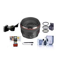 Image of Canon EF 50mm f/1.2L USM Ultra-Fast Standard AutoFocus Lens Kit, USA with 72mm Filter Kit, Lens Cap Leash, Lens Cleaning Kit, Flexible Lens Shade, Mac Software Package