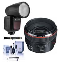 Image of Canon EF 50mm f/1.2L USM Lens - With Flashpoint Zoom Li-on X R2 TTL On-Camera Round Flash Speedlight For Canon, Cleaning Kit, Capleash, Lens Cleaner