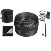 """Image of Canon EF 50mm f/1.4 USM Standard AutoFocus Lens Kit, USA - Bundle with 58mm Filter Kit (UV/CPL/ND2), Lens Cap Leash, Lens Pouch, Lens Wrap (15x15"""")"""