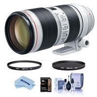Image of Canon EF 70-200mm f/2.8L IS III USM AF Telephoto Zoom Lens USA - Bundle With Hoya 77mm 10-Layer HMC UV Filter, Hoya 77mm HMC Circular Polarizer Filter, 32GB SDHC Card, Cleaning Kit, Microfiber Cloth