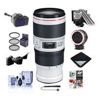 Image of Canon EF 70-200mm f/4L IS II USM AF Telephoto Zoom Lens, USA - Bundle With LensAlign MkII Focus Calibration System Lens Wrap, FocusShifter DSLR Follow Focus, Peak Lens Changing Kit Adapter And More