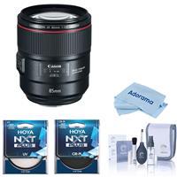Image of Canon EF 85mm f/1.4L IS USM Lens - Bundle With Hoya 77mm 10-Layer HMC UV Filter, Hoya 77mm HMC Circular Polarizer Filter, Cleaning Kit, Microfiber Cloth