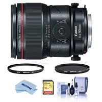 Image of Canon TS-E 90mm f/2.8L Tilt-Shift Macro Lens USA Warranty - Bundle With Hoya 77mm 10-Layer HMC UV Filter, Hoya 77mm HMC Circular Polarizer Filter, 16GB SDHC Card, Cleaning Kit, Microfiber Cloth
