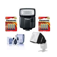 Image of Canon Speedlite EL-100, Shoe Mount Flash - U.S.A. Warranty - Bundle With Panasonic 2x 1.5V AA Alkaline Battery 4 Pack, Flashpoint Mini Soft Box Diffuser, Cleaning Kit