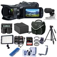 Image of Canon VIXIA HF G50 4K UHD Camcorder, 20x Optical Zoom - Bundle With Video Bag, 64GB SDXC U3 Card, Spare Battery, Video Mic, LED Light, 58mm Filter Kit, Tripod, Dual Charger, Cleaning Kit, And More
