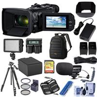 Image of Canon VIXIA HF G60 4K UHD 13.4MP Camcorder, 15x Optical Zoom - Bundle With Video Bag, 128GB SDXC U3 Card, Spare Battery, Video Mic, LED Light, 58mm Filter Kit, Tripod, Dual Charger, And More