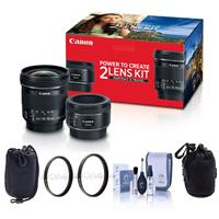 Image of Canon Portrait & Travel 2 Lens Kit - EF 50mm f/1.8 STM Lens & EF-S 10-18mm f/4.5-5.6 IS STM Lens - Bundle with 49mm/67mm Uv Filters, Small Lens Pouch, Medium Lens Pouch, Cleaning Kit