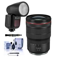Image of Canon RF 15-35mm f/2.8 L IS USM Lens - With Flashpoint Zoom Li-on X R2 TTL On-Camera Round Flash Speedlight For Canon, Cleaning Kit, Capleash, Lens Cleaner
