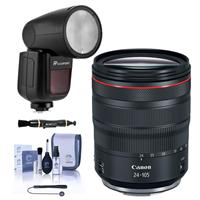 Image of Canon RF 24-105mm f/4 L IS USM Lens - With Flashpoint Zoom Li-on X R2 TTL On-Camera Round Flash Speedlight For Canon, Cleaning Kit, Capleash, Lens Cleaner