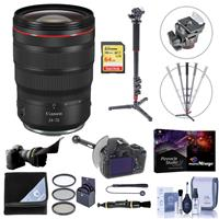 Image of Canon RF 24-70mm f/2.8 L IS USM Zoom Lens - Bundle With Flex Lens Shade, 82mm FIlter Kit, FocusShifter DSLR Follow Focus, 4 Section Aluminum Photo/Video Monopod, 64GB SDXC Card, Software, And More