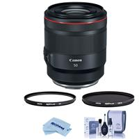 Image of Canon RF 50mm f/1.2 L USM Lens - U.S.A. Warranty - Bundle With Hoya NXT Plus 77mm 10-Layer HMC UV Filter, HOYA 77mm NXT Circular Polarizer Filter, Cleaning Kit, Capleash II