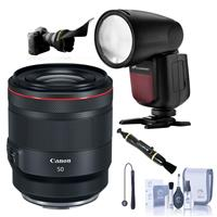 Image of Canon RF 50mm f/1.2 L USM Lens - Bundle With Flashpoint Zoom Li-on X R2 TTL On-Camera Round Flash Speedlight For Canon, Flex Lens Shade, Cleaning Kit, Lens Cleaner, Capleash