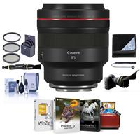 Image of Canon RF 85mm f/1.2 L USM DS Lens - Bundle With 82mm Filter Kit, Flex Lens Shade, Lens Wrap, Cleaning Kit, Capleash II, Lens Cleaner, Mac Software Package