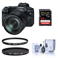 Image of Canon EOS R Mirrorless Digital Camera with Canon RF 24-105mm F4 L IS Lens - Bundle With Hoya NXT Plus 77mm UV Filter, Hoya NXT Plus 77mm Circular Polarizer Filter, 64GB SDXC Card, Cleaning Kit