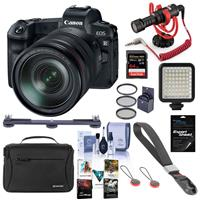 Image of Canon EOS R Mirrorless Digital Camera with Canon RF 24-105mm F4 L IS Lens - Bundle With RODE Compact On-Camera Mic, 64GB SDXC Card, Peak Cuff Wrist Strap, Shoulder Bag, Mini LED Light, Software, More
