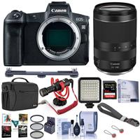 Image of Canon EOS R Mirrorless FF Camera, Black With RF 24-240mm f/4-6.3 IS USM Lens - Bundle With RODE Compact On-Camera Mic, 64GB SDXC Card, Peak Cuff Wrist Strap, Shoulder Bag, LED Light, Software, More