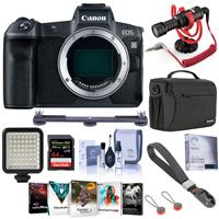 Image of Canon EOS R Mirrorless Full Frame Digital Camera Body - Black - Bundle With RODE Compact On-Camera Mic, 64GB SDXC Card, Peak Cuff Wrist Strap, Shoulder Bag, Mini LED Light, Software Pack, And More
