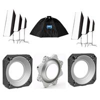 Image of Chimera OctaPlus 3, Fixed 3 Foot Diameter Lightbank - Bundle With 2x Chimera Speed Ring for White Lightning Ultra x , Chimera OctaPlus Speed Ring for White Lightning Flashes, 2x Chimera Small PRO II STRIP Lightbanks White
