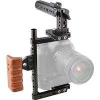 """Image of CAMVATE Universal Camera Cage with Top Handle, Wooden Handgrip and 7.8"""" SideRod for Select DSLR"""