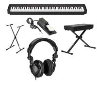Image of Casio CDP-S150 88-Key Compact Digital Piano (Black), Bundle with Bench, Stand, Sustain Pedal and H&A Studio Headphones