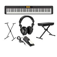 Image of Casio CDP-S350 88-Key Compact Digital Piano (Black), Bundle with Bench, Stand, Sustain Pedal and H&A Studio Headphones