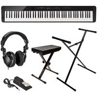Image of Casio Privia PX-S3000 88-Key Digital Piano (Black), Bundle with Bench, Stand, Sustain Pedal and H&A Studio Headphones