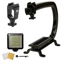 Image of Cam Caddie Bundle: Scorpion Stabilizing Camera Handle + Support Rig + LED-64 Video Light and Accessory Shoe