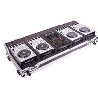 Image of DJ Tech Hybrid 101 4-Deck MIDI DJ Controller System, Includes MIDI DJ Mixer Controller, 4x Kontrol One Decks, Flight Case, 5x USB Cables, DC Adaptor