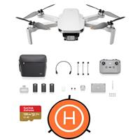 Image of DJI Mini 2 Drone Fly More Combo - Bundle with 128GB microSD Card, Drone Landing Pad