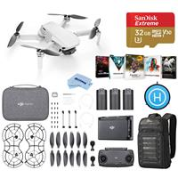 Image of DJI Mavic Mini Fly More Combo - Basic Kit With 32GB SDHC Memory Card, Lowepro Backpack, Software Package, Foldable Landing Pad, Microfiber Cloth