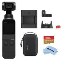 Image of DJI DJI Osmo Pocket 3-Axis Gimbal Stabilized Handheld Camera - Bundle With PGYTECH Carrying Case for DJI Osmo Pocket, 64GB MicroSDXC U3 Card, DJI Expansion Kit for Osmo Pocket Camera