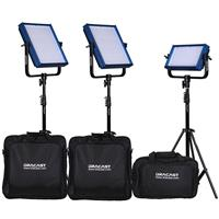 Image of Dracast ENG Bi-Color 4-Light Complete Kit, Includes 2x LED1000 Pro Bi-Color LED Light, 1x LED500 Pro Bi-Color LED Light, 1x LED160 On Camera Bi-Color LED Light, Batteries and Carry Cases