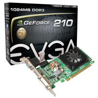 Image of EVGA GeForce 210 1024MB Graphics Card, DDR3, PCI Express 2.0x16, 240Hz Refresh Rate, HSF Cooling
