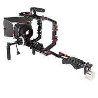 Image of FILMCITY FC-03 DSLR Camera Cage Shoulder Rig Kit with MB-600 Matte Box and HS-2 Follow Focus