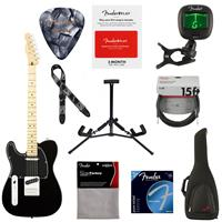 """Image of Fender Player Telecaster Left-Handed Electric Guitar, 22 Frets, Modern """"C"""" Shape Maple Neck, Maple Fingerboard, Gloss Polyester, Black - With 9 Pack Accessory Bundle"""