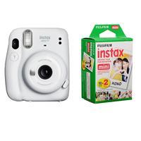 Image of Fujifilm Instax Mini 11 Instant Film Camera, Ice White - With Fujifilm instax mini Instant Daylight Film Twin Pack, 20 Exposures
