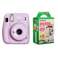 Image of Fujifilm Instax Mini 11 Instant Film Camera, Lilac Purple - With Fujifilm instax mini Instant Daylight Film Twin Pack, 20 Exposures