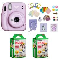 Image of Fujifilm Instax Mini 11 Instant Camera (Lilac Purple) Bundle with Case, 2X Fuji Instax Mini Instant Film Twin Pack - 40 Sheets (White), Color Filters, Stickers, Frames, Photo Album and Accessory Kit
