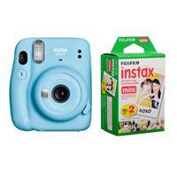 Image of Fujifilm Instax Mini 11 Instant Film Camera, Sky Blue - With Fujifilm instax mini Instant Daylight Film Twin Pack, 20 Exposures