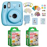 Image of Fujifilm Instax Mini 11 Instant Camera (Sky Blue) Bundle with Case, 2X Fuji Instax Mini Instant Film Twin Pack - 40 Sheets (White), Color Filters, Stickers, Frames, Photo Album and Accessory Kit