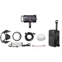 "Image of Fiilex K152 Lighting Kit, Includes Q500-DC Light Head, Size III Barndoor, 5"" Fresnel Lens, AC/DC Power Adapter, Custom Q500 Rolling Travel Case"