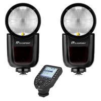 Image of Flashpoint 2x Zoom Li-on X R2 TTL On-Camera Round Flash Speedlight For Nikon (Godox V1) + Flashpoint R2 Pro Mark II 2.4 GHz Wireless Flash Trigger for Nikon