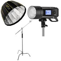 """Image of Flashpoint XPLOR 400PRO TTL Battery-Powered Monolight + Flashpoint 10' C (Century) Light Stand on Turtle Base Kit w/40"""" Grip Arm & 2 Gobo Heads and Baby Pin - Chrome + Glow EZ Lock Deep Parabolic Quick Softbox (48"""")"""