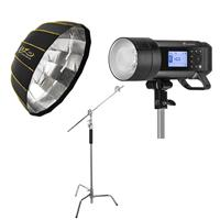 """Image of Flashpoint XPLOR 400PRO TTL Battery-Powered Monolight + Glow EZ Lock Collapsible Silver Beauty Dish (34"""") + Flashpoint 10' C (Century) Light Stand on Turtle Base Kit w/40"""" Grip Arm & 2 Gobo Heads and Baby Pin - Chrome"""
