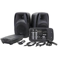 """Image of Gemini ES-210MXBLU Professional Audio Portable PA System, Includes 2x 10"""" 600W ABS Passive Speakers, Powered 8-Channel Mixer with Digital Echo, Microphone"""
