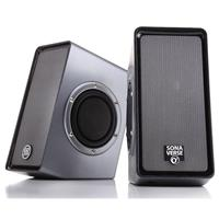 GoGroove SonaVERSE O2 USB Computer Speakers with Dual Side-Firing Passive Woofers, 7W RMS Power, Pair, Gray