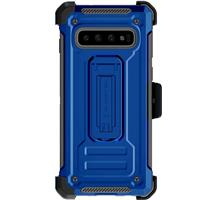 Image of Ghostek Iron Armor2 Rugged Case with Holster Belt Clip for Galaxy S10, Blue/Gray